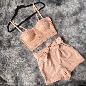 Cottage Cutie Lace Bustier Shorts Set